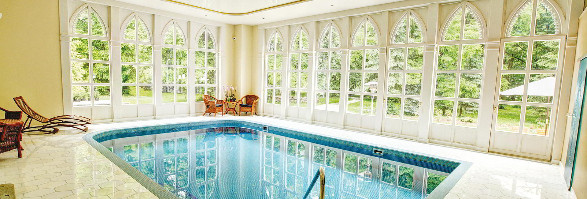 Pool at Sulislaw Palace in Grodkow near Wroclaw, Poland