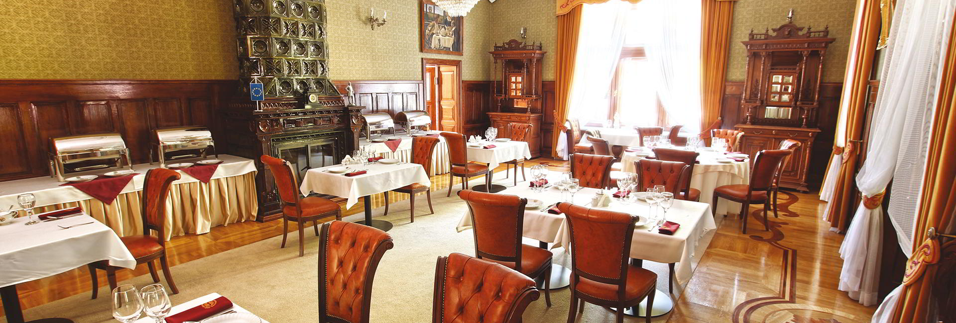 Restaurant at Sulislaw Palace in Grodkow near Wroclaw, Poland