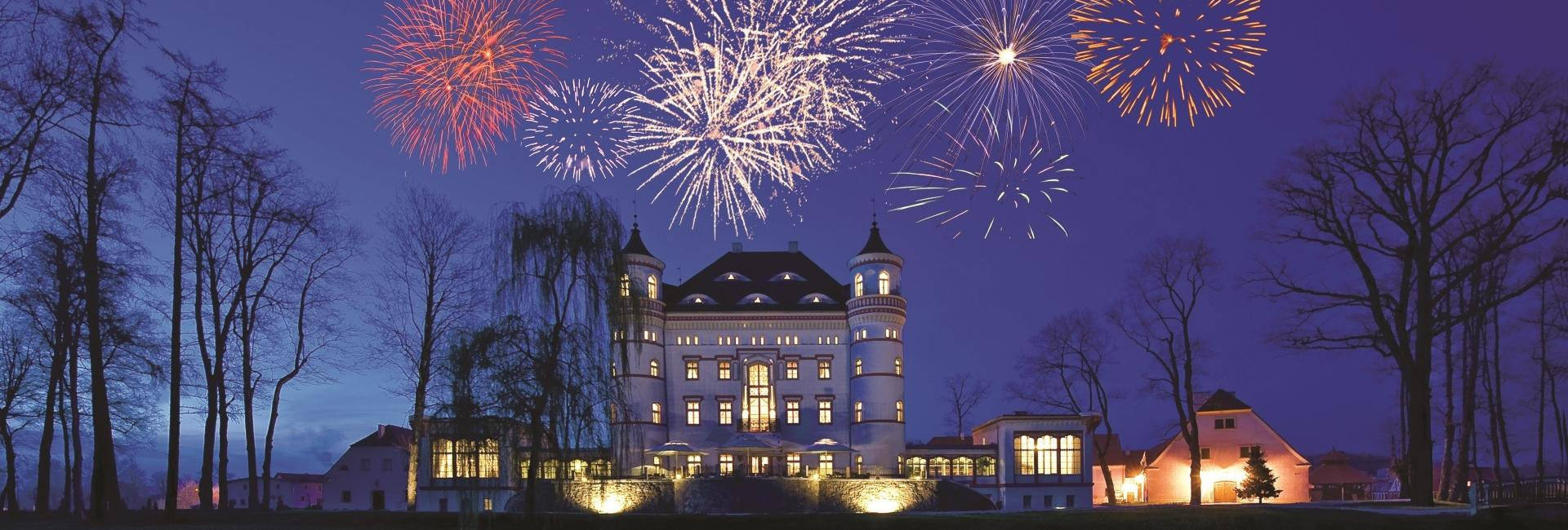 Fireworks at Wojanów Palace in Lower Silesia