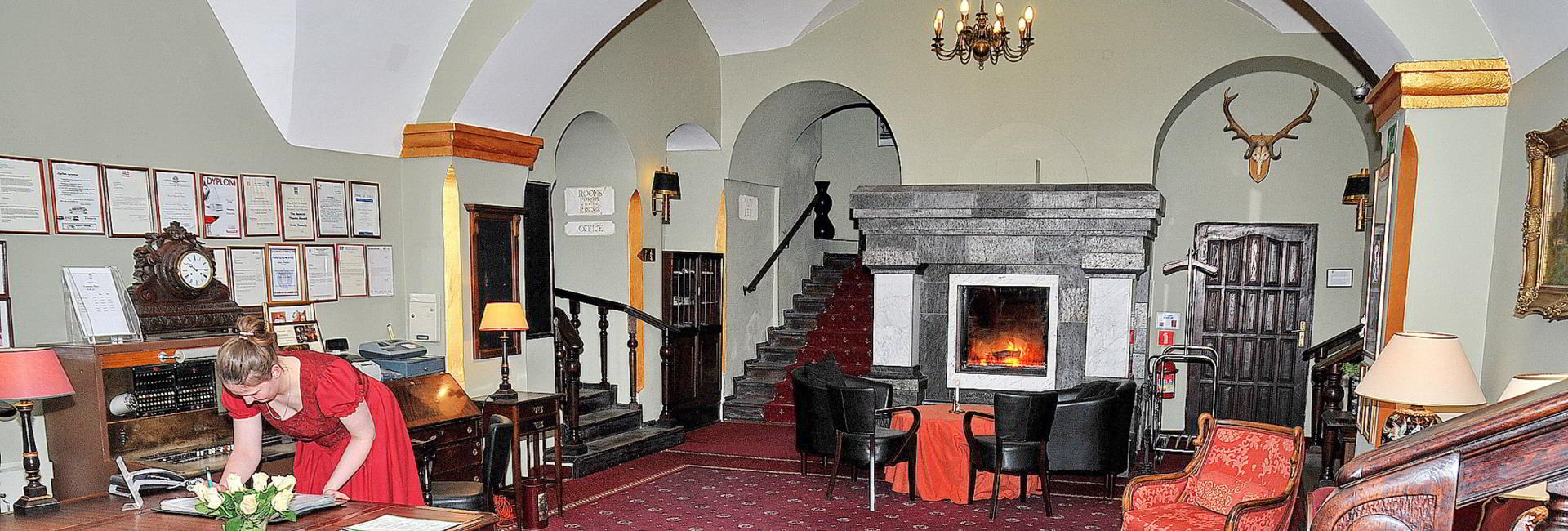 Lobby at Castle Hotel Podewils in Krag, Poland