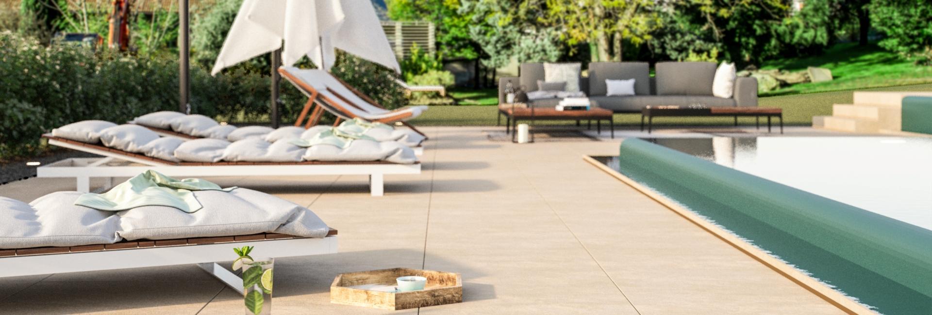 Outdoor pool at Hotel Castel-Rundegg in Merano
