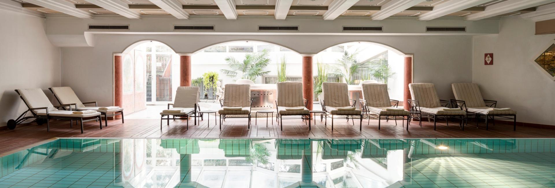 Indoor pool at Hotel Castel Rundegg in Merano